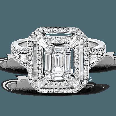Simon G.  emerald 18k white Semi right hand ring