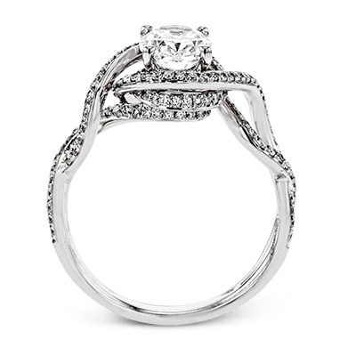 Simon G. peg head oval 18k white Semi engagement ring