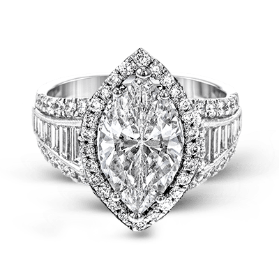 Simon G.  marquise 18k white Semi engagement ring