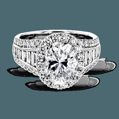 Simon G.  oval 18k white Semi engagement ring
