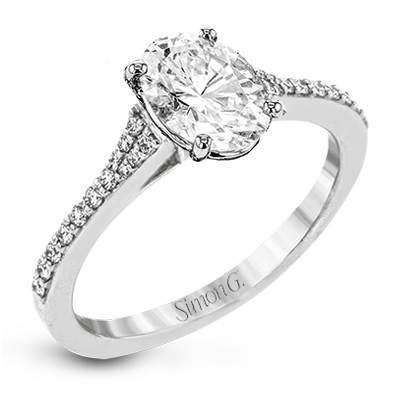 Simon G.  oval 18k white Semi engagement ring