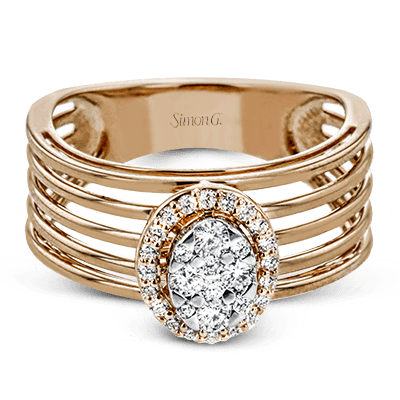 Simon G.  oval 18k white  right hand ring