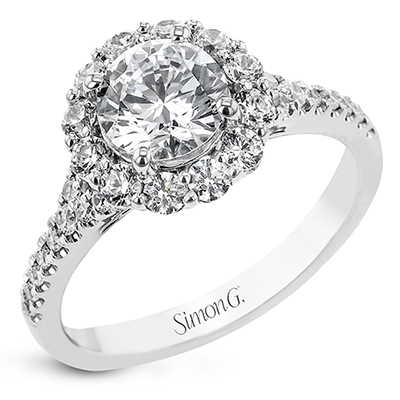 Simon G.  round 18k white Semi engagement ring