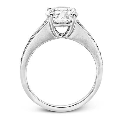 Simon G. built in round 18k white Semi engagement ring