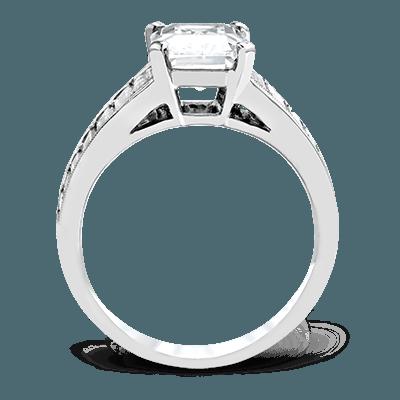 Simon G. built in emerald 18k white Semi engagement ring