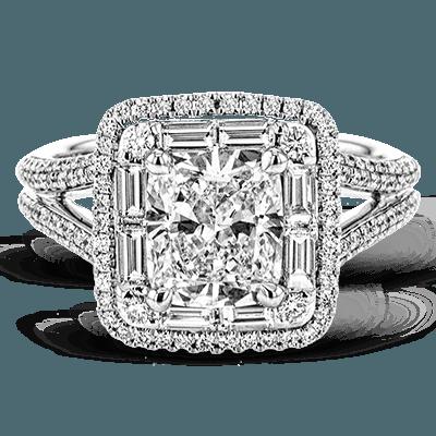 Simon G.  round 18k white Semi engagement ring