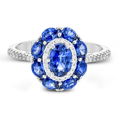 Simon G.  oval 18k white Semi color ring