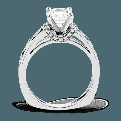 Simon G. peg head round 18k white Semi engagement ring
