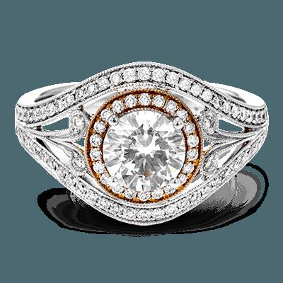 Simon G. basket round 18k white Semi engagement ring