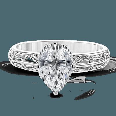 Simon G.  pear 18k white Semi engagement ring