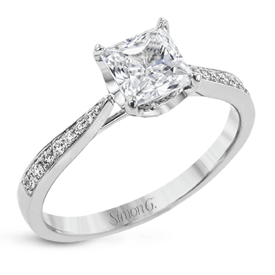 Simon G.  princess 18k white Semi engagement ring