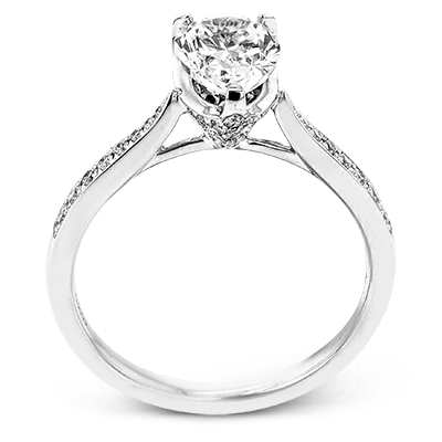 Simon G.  pear 18k white Semi engagement ring